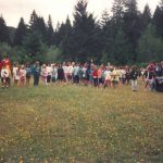 campers and staff on what will eventually be a cabin site circa 1990