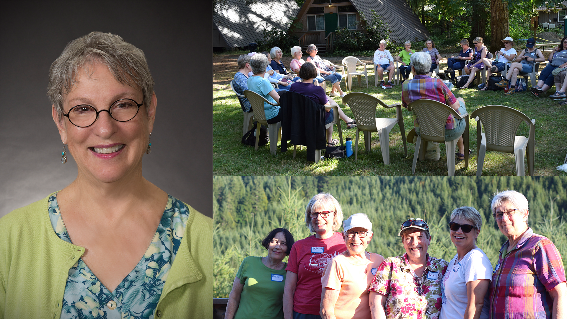 A collage of three images, one is a headshot of Barbara Punch, two depict groups of women doing activities at camp.